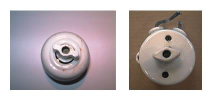 Interrupteur porcelaine à bouton rotatif et alimentation latérale.